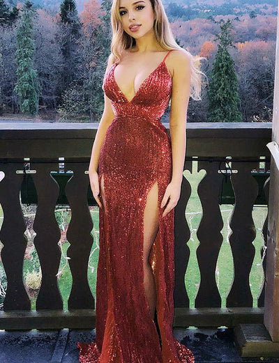 Hot Sheath Spaghetti Straps Red Sequins Evening Prom Dress with Split