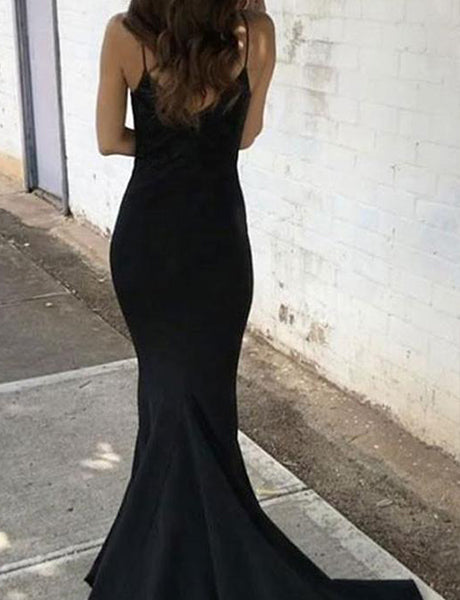 Black Sweetheart Neck Mermaid Satin Prom Dress with Sweep Train