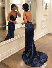 Spaghetti Straps Sequin Prom Dresses Backless Long Mermaid Evening Dresses