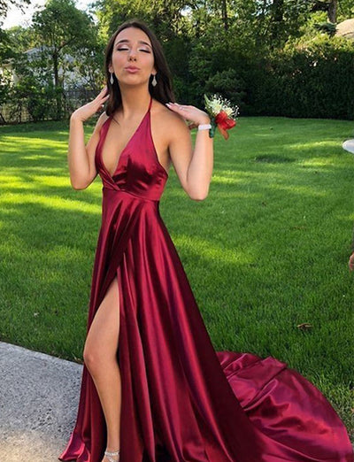 Red A-Line Spaghetti Straps Prom Dress With Slit