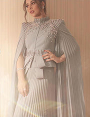 Grey Dubai Kaftans Evening Kaftan Dress With Beading