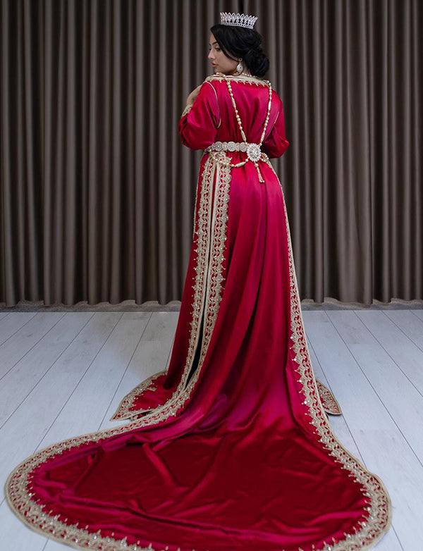 Beaded Satin Red Wedding Kaftans