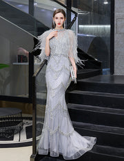 Silver Mermaid Long Beading Prom Dresses Luxury Evening Dress with Feather Short Shwal