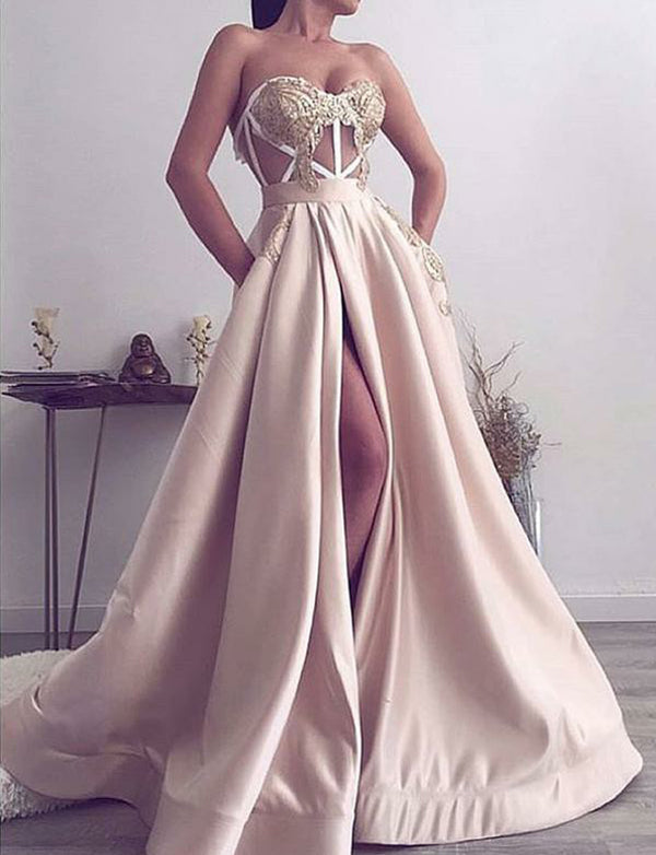 Champagne Prom Dresses Long