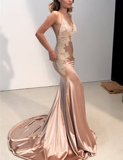Mermaid Spaghetti Straps Champagne Satin Evening Dress with Appliques