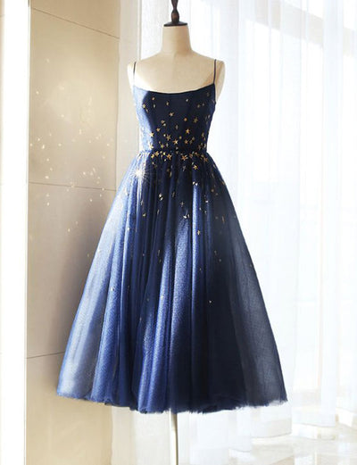 Charming A Line Spaghetti Straps Navy Blue Short Homecoming Prom Dress With Sequins