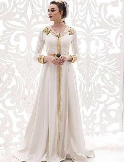 Classic Wedding Kaftans Whtie Dress With Beaded