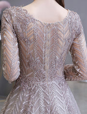 Champagne Lace A Line Long Beading Prom Dresses Long Sleeves Evening Dress