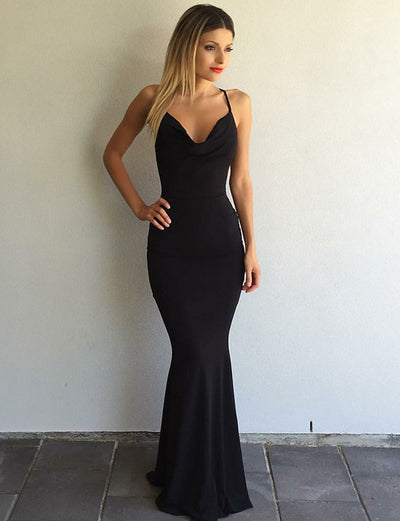 Stylish Mermaid Spaghetti Straps Floor Length Black Satin Prom Dress
