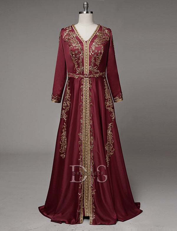 Red Moroccan Caftan Long Dress