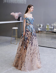Sequined Lace A Line Long Beading Prom Dresses Off Shoulder Evening Dress