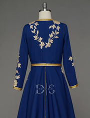 Navy Blue Moroccan Caftan With Beading and Embroidery
