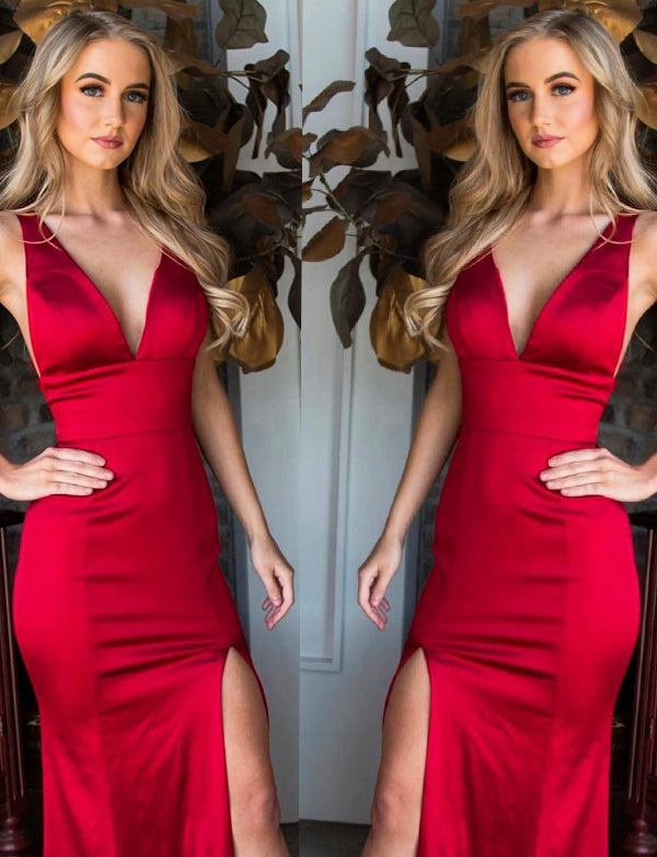 Red Prom Dresses Long V Neck Mermaid Evening Party Dresses with Split