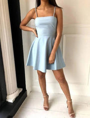 A Line Sleeveless Short Blue Homecoming Cocktail Dress With Spaghetti Straps