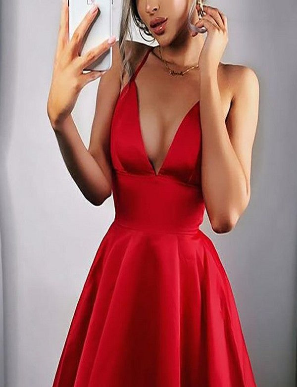 Sexy Red A Line Halter Homecoming Dress Short Prom Dress