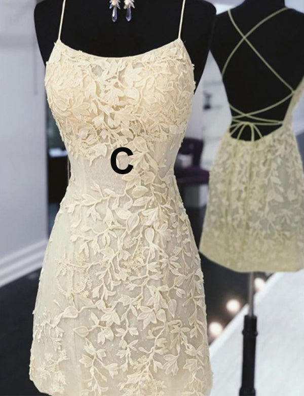 Stunning Sheath Tight Short Homecoming Dress with Lace Appliques