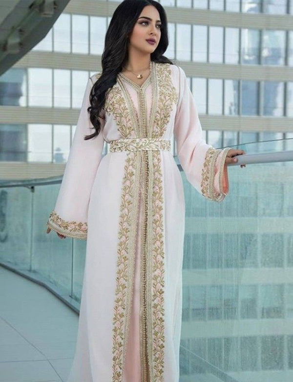 Pearl Pink Moroccan Caftan Embroidery Evening Kaftans
