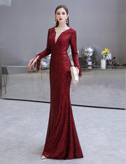 Mermaid Long Silver Sequined Prom Dresses Burgundy Evening Gowns with Long Sleeves