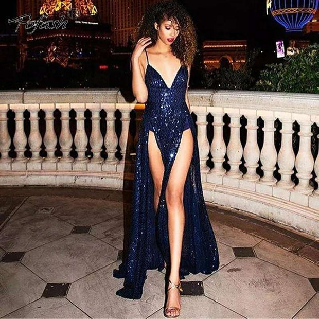 Sexy Navy Blue Sequin Prom Dresses Long Evening Gowns Spaghetti Straps