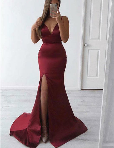 Burgundy Prom Dress Long