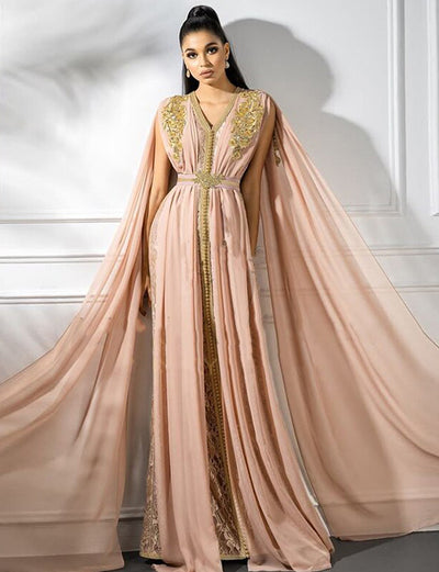 Pink Moroccan Caftan Embroidery Evening Dress