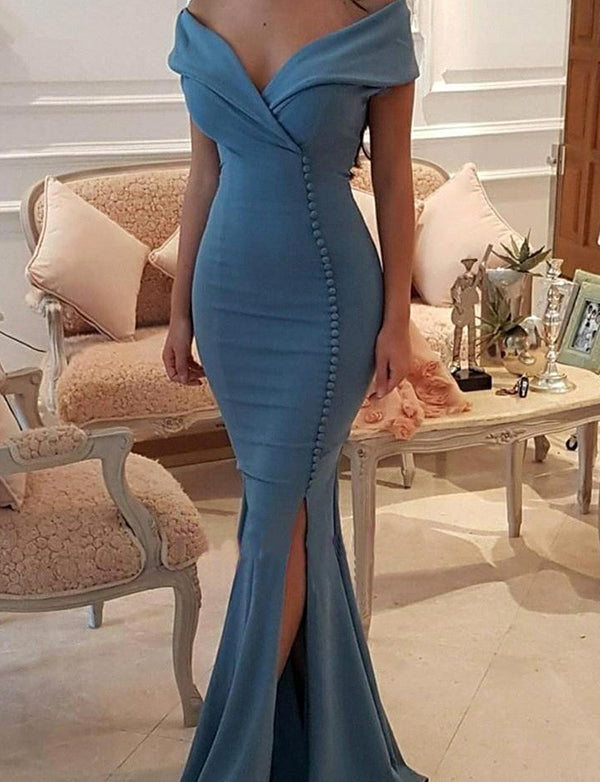 Mermaid Off the Shoulder Blue Satin Evening Dress with Button Split
