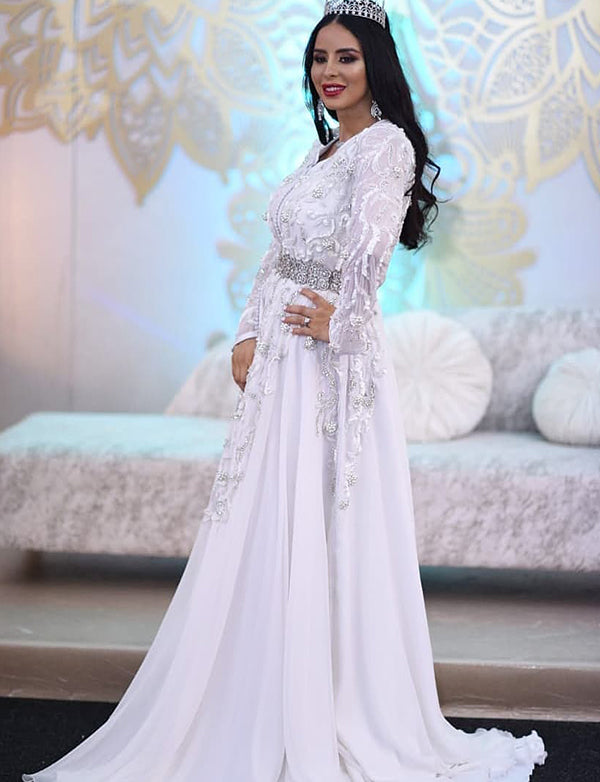 Dramatic Wedding Kaftans White Wedding Dress