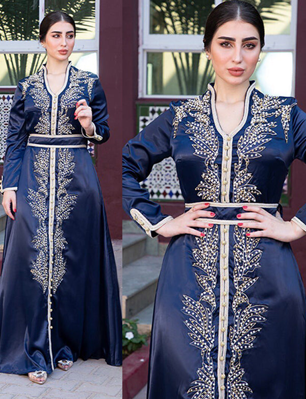 Navy Blue Dubai Kaftans With Beaded