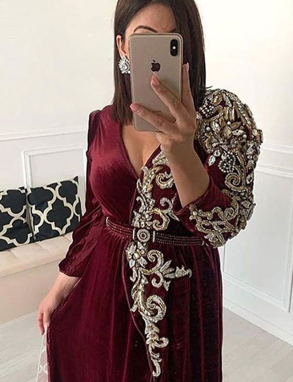 Burgundy Moroccan Caftans Beaded Evening Dress