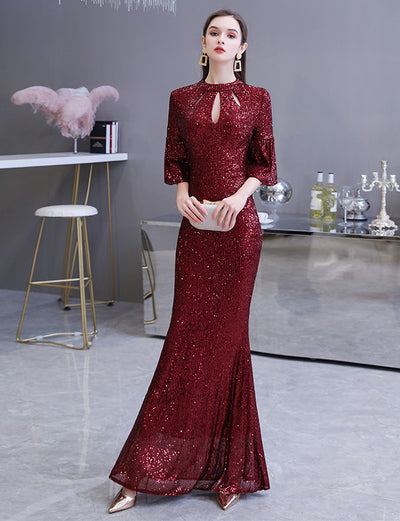 Burgundy Mermaid Long Sequined Prom Dresses High Neck Evening Gowns with sleeves