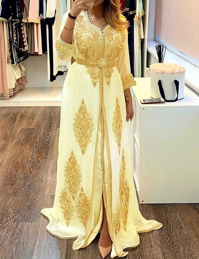 Moroccan Caftan Dress with Embroidery