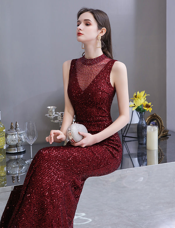 Mermaid Long Sequined Burgundy Prom Dresses High Neck Evening Gowns with Beading