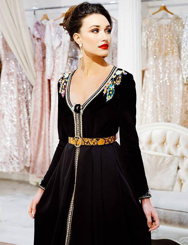 Beaded Moroccan Caftan Long Black Dress With Embroidery