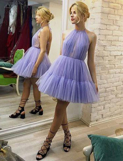 Unique A Line Halter Lavender Short Homecoming Graduation Dress
