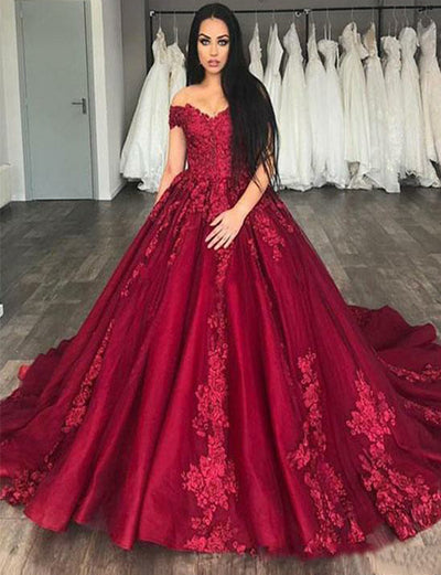 Ball Gown Formal Gowns Off the Shoulder Appliques Burgundy Quinceanera Dress