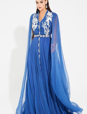 Chiffon Blue Moroccan Caftan With Embroidery
