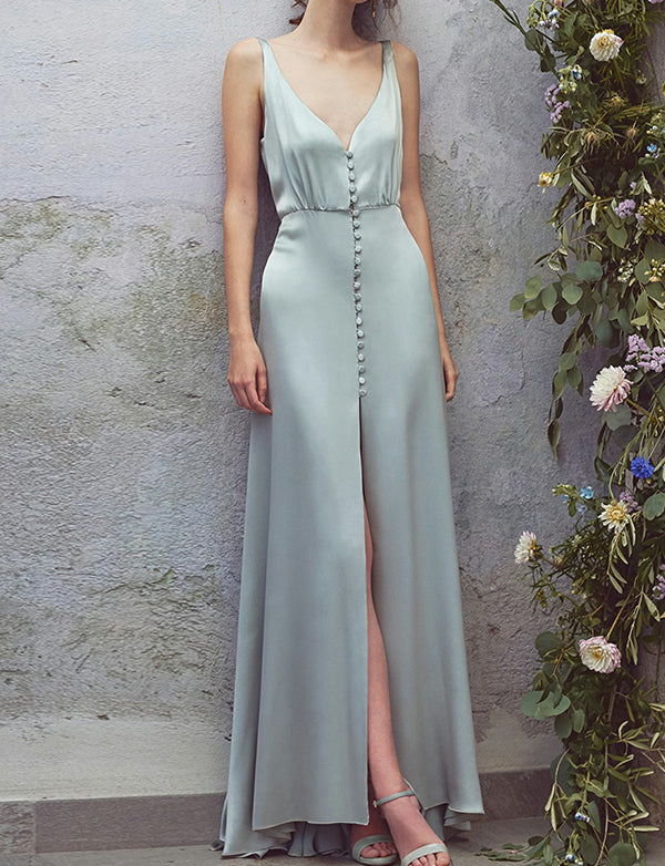 A Line Deep V Neck Floor Length Satin Sky Blue Prom Dress with Split