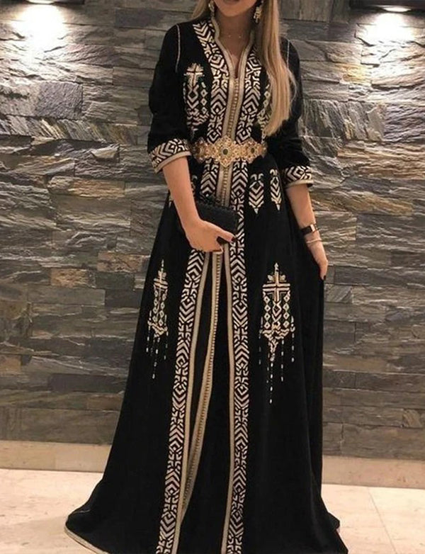 A-line Long Black Caftan Dress for Women With Embroidered