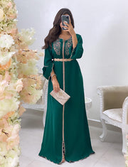 Plus Size Moroccan Caftan with Embroidery