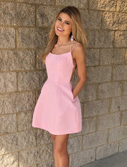 Simple A Line Spaghetti Straps Pink Short Homecoming Dress