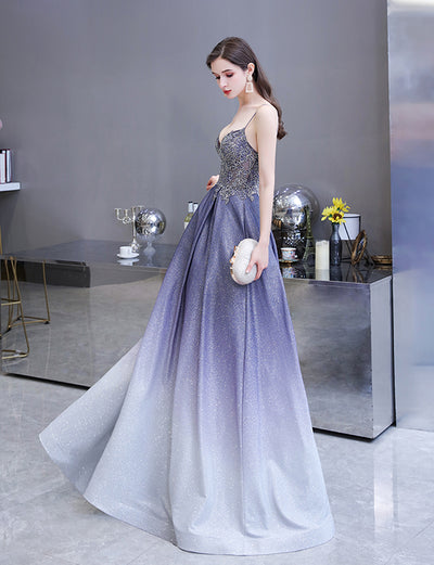 Ombre Blue Satin A Line Long Beading Prom Dresses Sexy Illusion V Neck Evening Dress