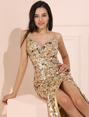 Champagne Long Prom Dress Sweetheart Sequin Evening Dress