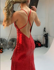 Sexy Red Mermaid Long Prom Dresses with Sequin Evening Dresses