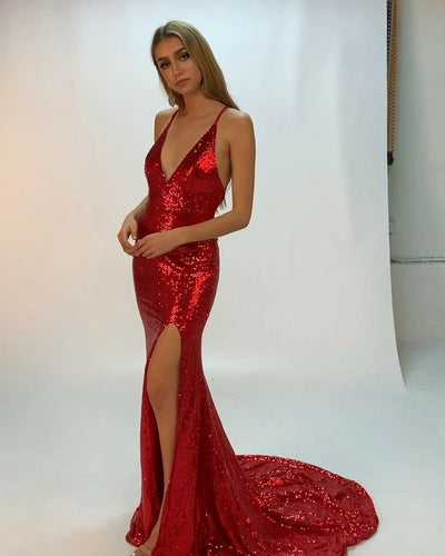 Sexy Red Mermaid Long Prom Dresses with Sequins Evening Dresses
