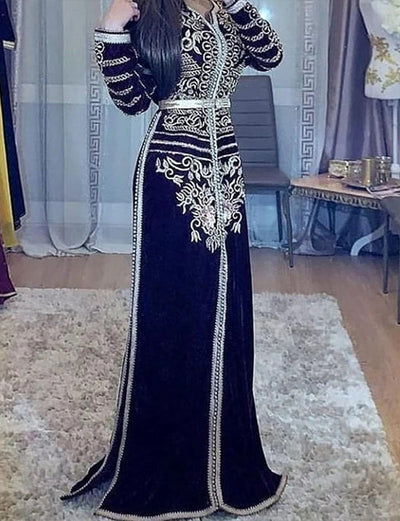 Dark Navy Long Sleeve Ladies Moroccan Caftan