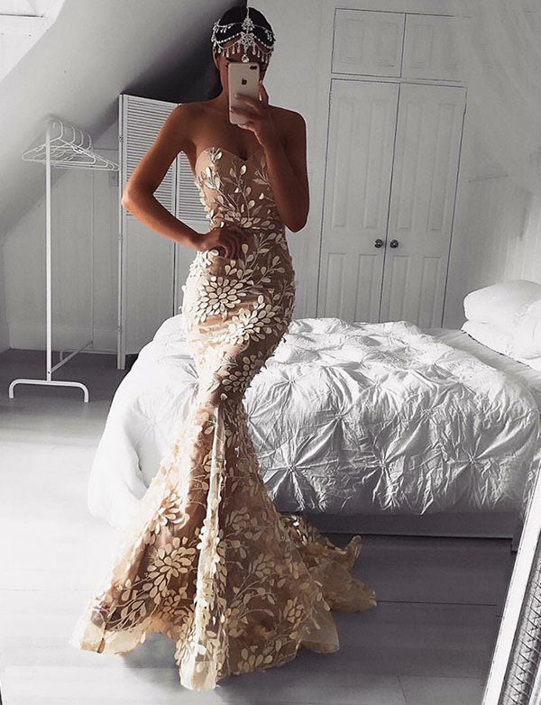 Sexy Mermaid Sweetheart Champagne Tulle Evening Dress with Appliques