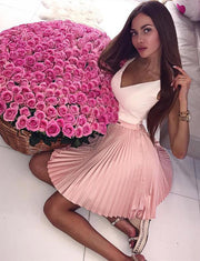 Stylish A Line V Neck Sleeveless Pink Short Homecoming Dress