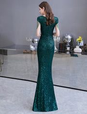 Mermaid Long Sequined Green Prom Dresses V Neck Evening Gowns with Cap Sleeves