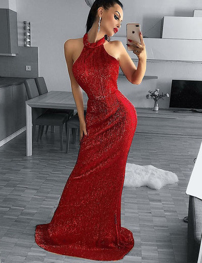 Charming Sheath Halter Backless Sweep Train Red Sequined Evening Dress