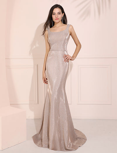 Champagne Mermaid Prom Dress Long Formal Evening Dress